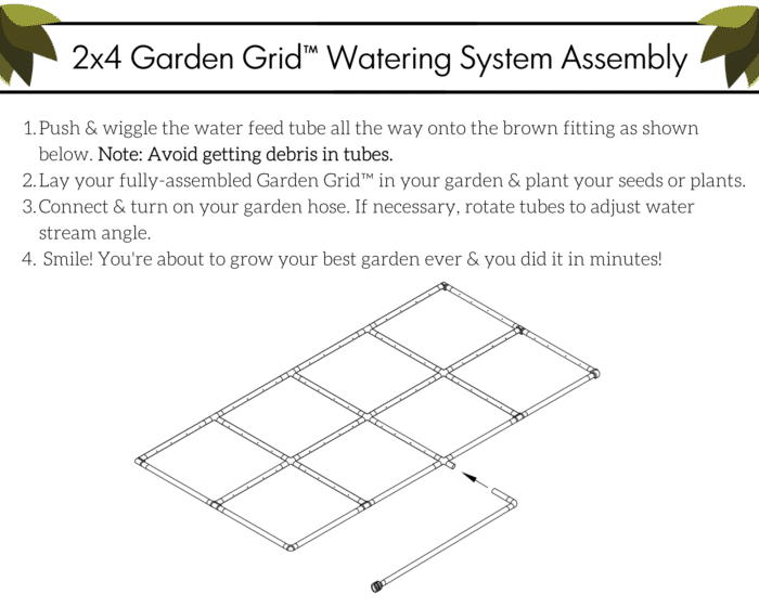 2x4 Garden Grid Assembly Instructions. Estimated Assembly Time: Less Than 1 Minute