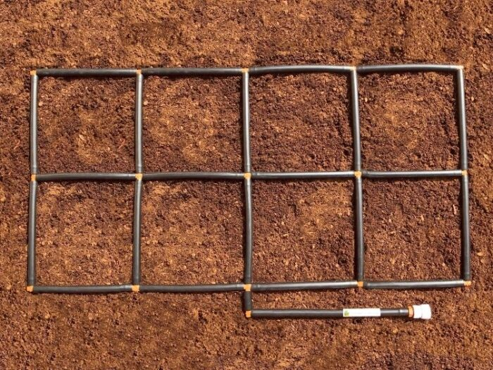 2x4 Garden Grid watering system plant spacing guide and ground level watering system