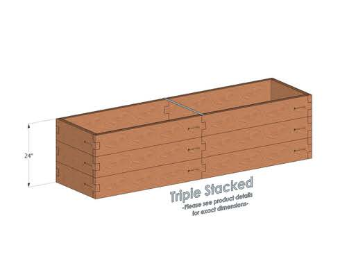 2x8 Cedar Raised Garden Bed Triple Stacked - With stacked 2x8 Garden Beds we include an aluminum cross strap to keep your garden bed walls perfectly straight.