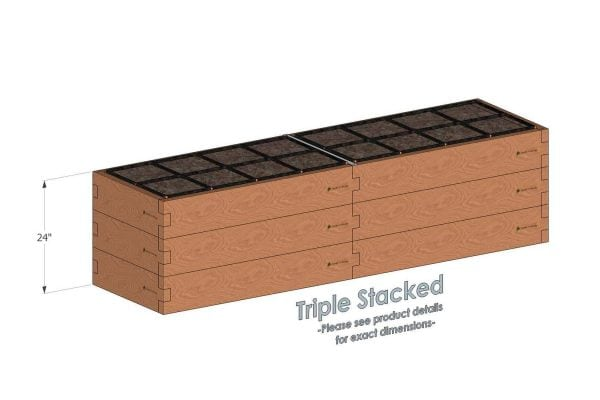 2x8 Raised Garden Kit Triple Stacked - Stacked 2x8 Garden Beds include an aluminum cross strap to keep your garden bed walls perfectly straight.