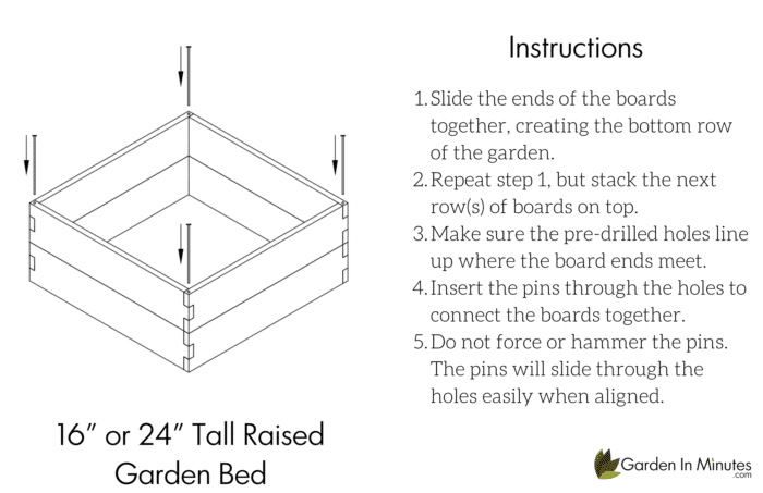 """Raised Garden Bed Assembly 16"""" Height"""
