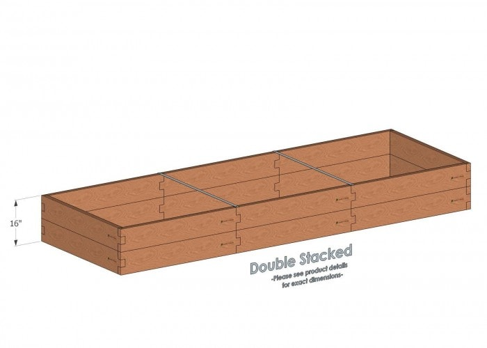 Alternate Layout: 4x12 Cedar Raised Garden Bed Double Stacked - With stacked 4x12 Garden Beds we include two aluminum cross strap to keep your garden bed walls perfectly straight.