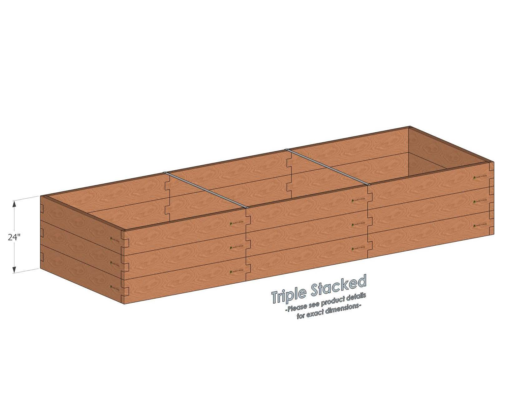 Alternate Layout: 4x12 Cedar Raised Garden Bed Triple Stacked - With stacked 4x12 Garden Beds we include two aluminum cross strap to keep your garden bed walls perfectly straight.
