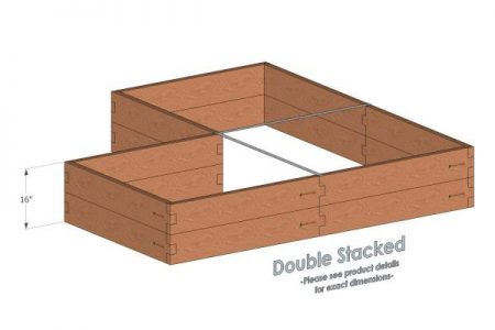 Corner Shaped Cedar Raised Garden Bed Double Stacked - With stacked Corner Garden Beds we include two aluminum cross strap to keep your garden bed walls perfectly straight.