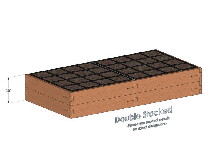 4x8 Raised Garden Kit Double Stacked - With stacked 4x8 Garden Beds we include an aluminum cross strap to keep your garden bed walls perfectly straight.
