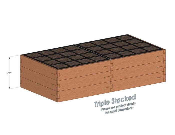 4x8 Raised Garden Kit Triple Stacked - With stacked 4x8 Garden Beds we include an aluminum cross strap to keep your garden bed walls perfectly straight.
