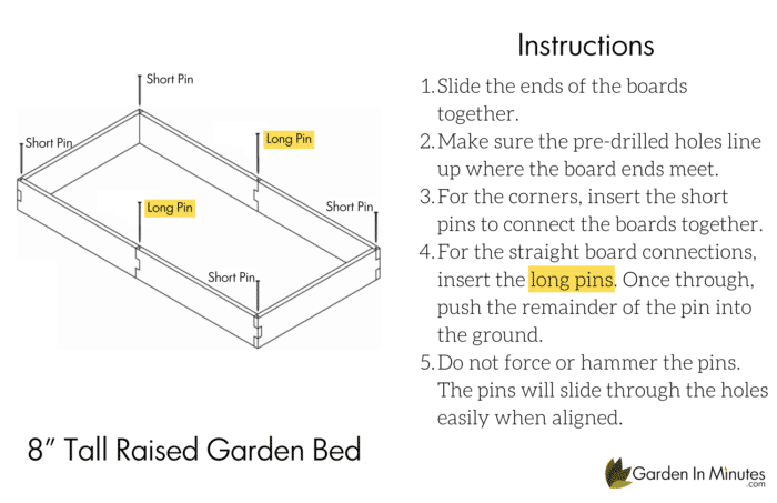 """Raised Garden Bed Assembly 8"""""""