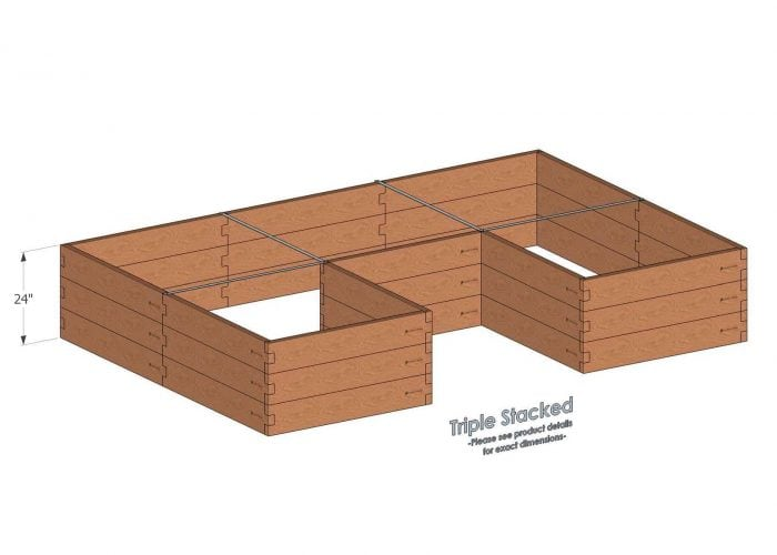 U Shaped Raised Garden Bed Triple Stacked - With stacked U Shaped Garden Beds we include four aluminum cross straps to keep your garden bed walls perfectly straight.