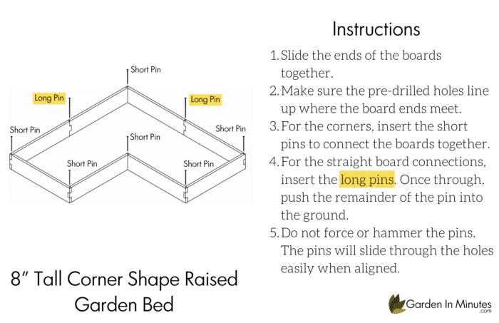 Corner Shape Garden Bed 8 Inch Height