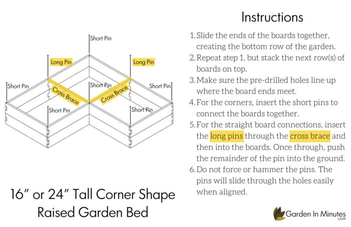 Corner Shape Garden Bed 16 Inch Height