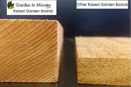 "Garden In Minutes cedar raised garden bed boards are 1-3/4"" thick for added strength and longevity."