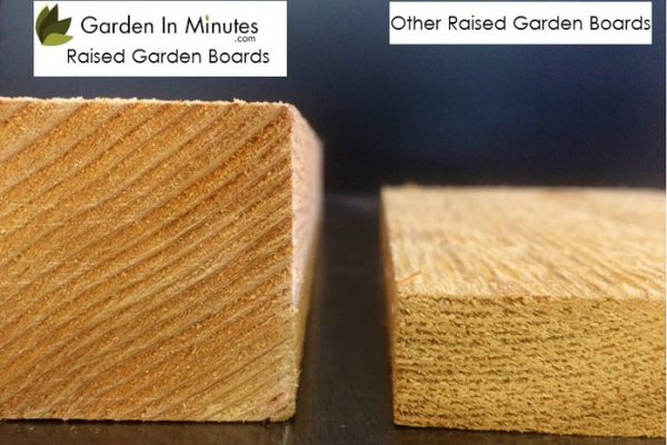 GardenInMinutes Garden Bed boards are more than 2X the thickness of typical garden beds.