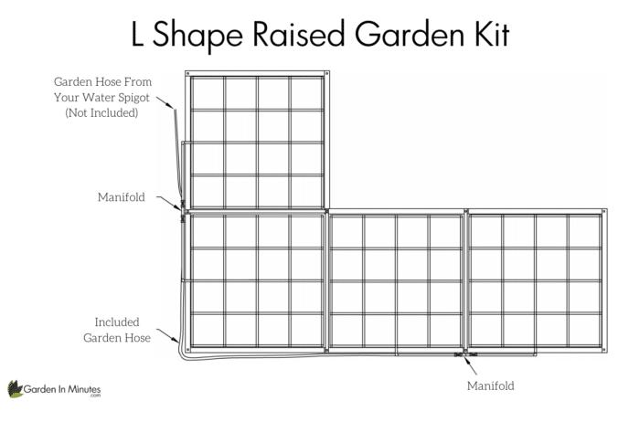 L Shaped Raised Garden Kit Setup