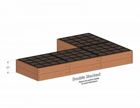 L Shaped Raised Garden Kit Double Stacked - With stacked L Shaped Garden Kits we include three aluminum cross straps to keep your garden bed walls perfectly straight.