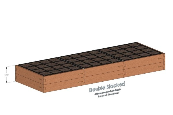 4x12 Raised Garden Kit Double Stacked - Stacked 4x12 Garden Beds include two aluminum cross straps to keep your garden bed walls perfectly straight.