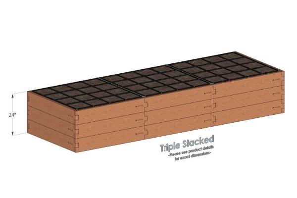 4x12 Cedar Raised Garden Kit Triple Stacked - Stacked 4x12 Garden Beds include two aluminum cross straps to keep your garden bed walls perfectly straight.