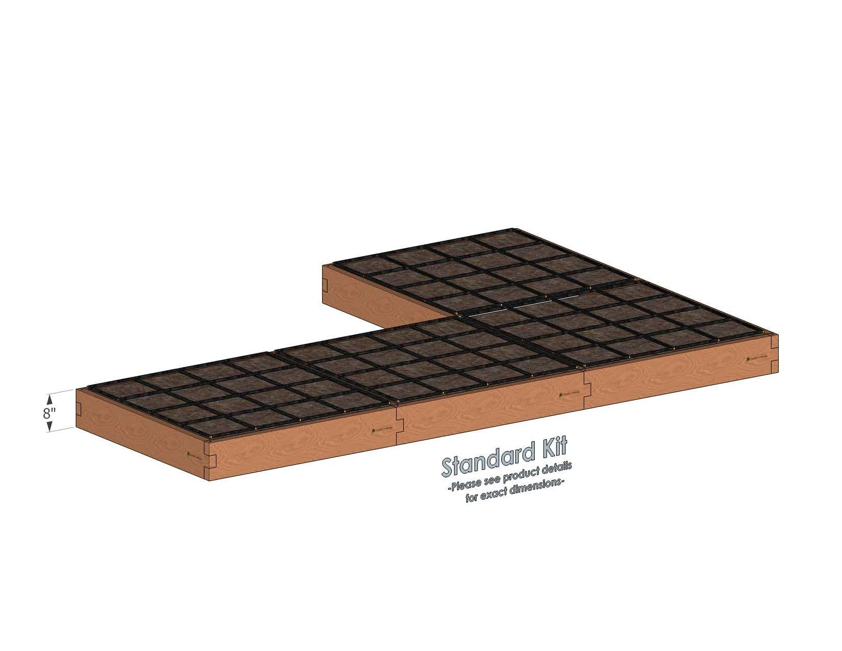 L Shaped Raised Garden Kit Standard Bed