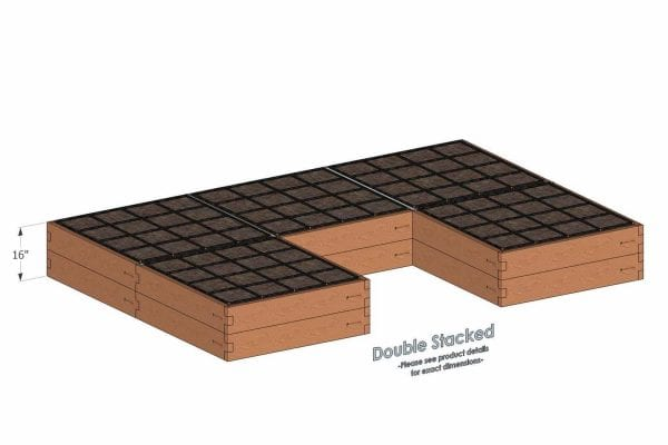 U Shaped Cedar Raised Garden Kit Double Stacked
