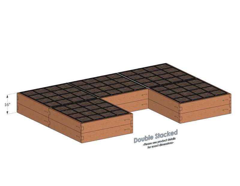 U Shaped Cedar Raised Garden Kit Double Stacked - With stacked U Shaped Garden Beds we include four aluminum cross straps to keep your garden bed walls perfectly straight.