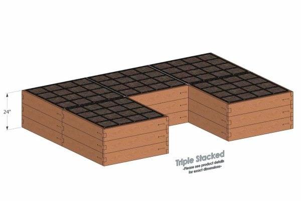 U Shaped Cedar Raised Garden Kit Triple Stacked