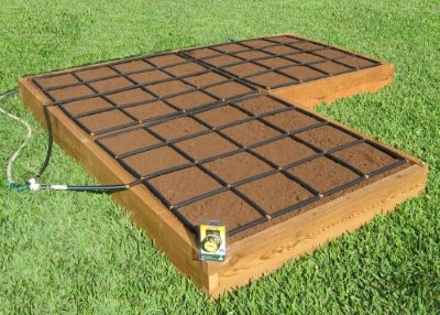 All-in-one, Corner Shaped Raised Garden Kit with Garden Grid watering systems.