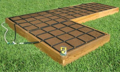 All-in-one, L Shaped Raised Garden Kit with Garden Grid watering systems. Alternate layout 4x20