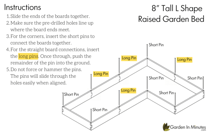 L Shaped Raised Garden Bed Assembly 2
