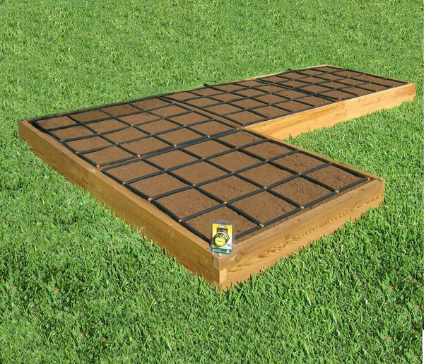 All In One, L Shaped Raised Garden Kit With Garden Grid Watering Systems