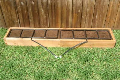 All-in-one, 1x8 Raised Garden Kit with Garden Grid watering system.