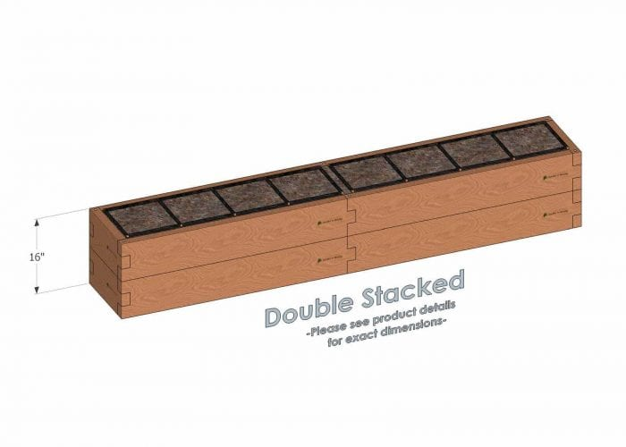 1x8 Raised Garden Kit Double Stacked - Stacked 1x8 Garden Beds include an aluminum cross strap to keep your garden bed walls perfectly straight.