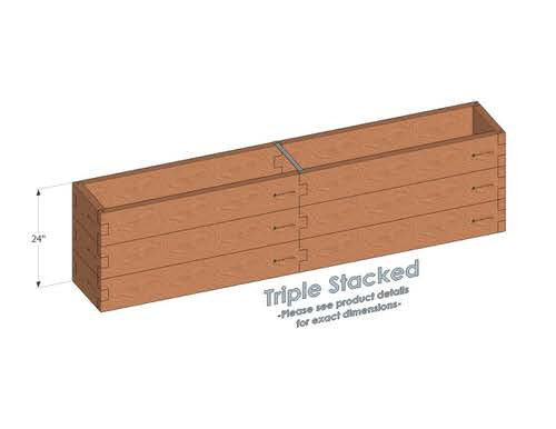 1x8 Cedar Raised Garden Bed Triple Stacked - With stacked 1x8 Garden Beds we include an aluminum cross strap to keep your garden bed walls perfectly straight.