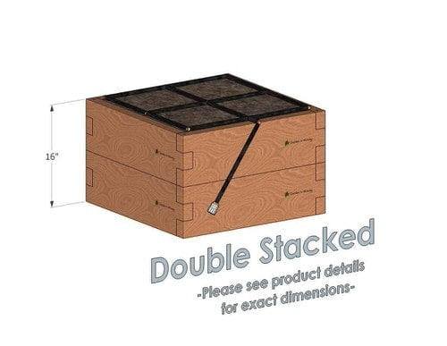 2x2 Cedar Raised Garden Kit Double Stacked