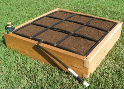 All-in-one, 3x3 Raised Garden Kit with Garden Grid watering system.