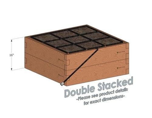 3x3 Cedar Raised Garden Kit Double Stacked