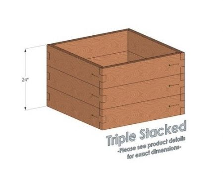 3x3 Cedar Raised Garden Bed Triple Stacked