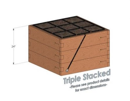 3x3 Cedar Raised Garden Kit Triple Stacked