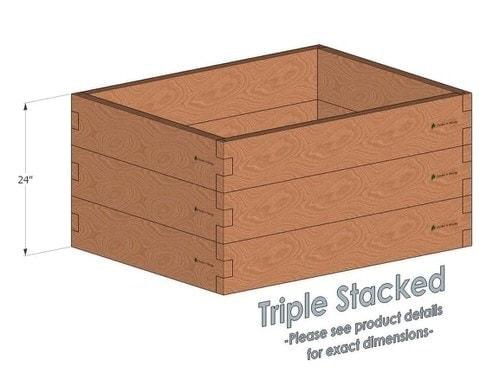 3x4 Cedar Raised Garden Bed Triple Stacked
