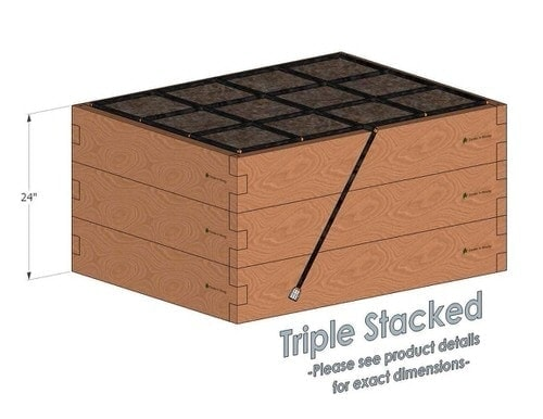 3x4 Cedar Raised Garden Kit Triple Stacked