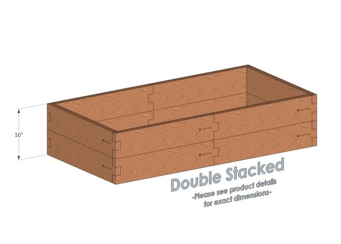 3x6 Cedar Raised Garden Bed Double Stacked - Stacked 3x6 Garden Beds include an aluminum cross strap to keep your garden bed walls perfectly straight.