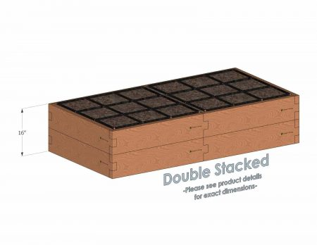 3x6 Raised Garden Kit Double Stacked - Stacked 3x6 Garden Beds include an aluminum cross strap to keep your garden bed walls perfectly straight.