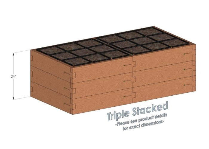3x6 Raised Garden Kit Triple Stacked - Stacked 3x6 Garden Beds include an aluminum cross strap to keep your garden bed walls perfectly straight.