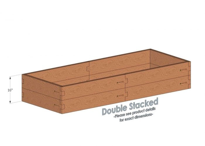 3x8 Cedar Raised Garden Bed Double Stacked - With stacked 3x8 Garden Beds we include an aluminum cross strap to keep your garden bed walls perfectly straight.