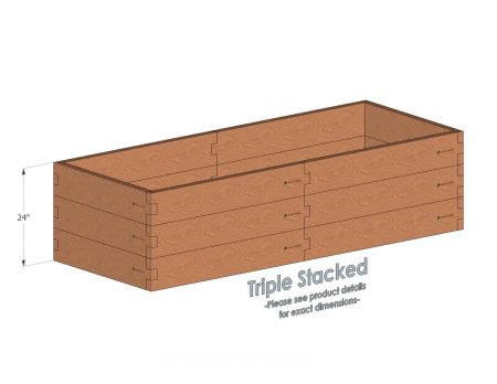 3x8 Cedar Raised Garden Bed Triple Stacked - With stacked 3x8 Garden Beds we include an aluminum cross strap to keep your garden bed walls perfectly straight.