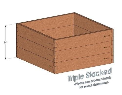 4x4 Cedar Raised Garden Bed Triple Stacked