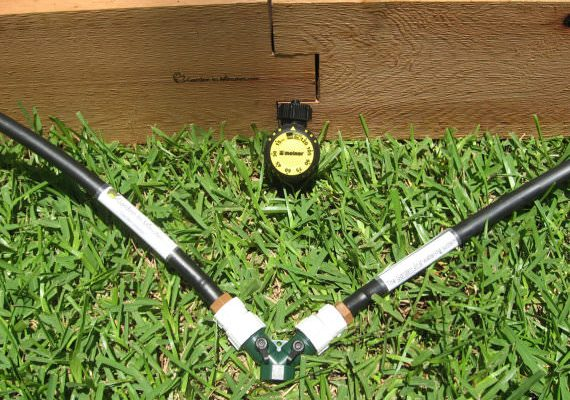 Our two-way water flow valve connects multiple Garden Grid watering systems together to run from one water source.