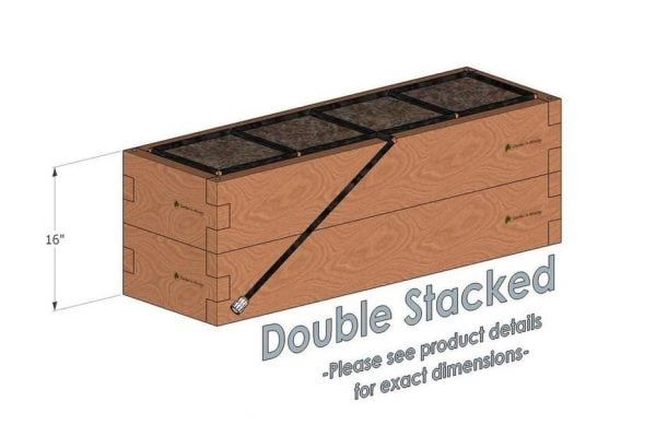 1x4 Cedar Raised Garden Kit Double Stacked