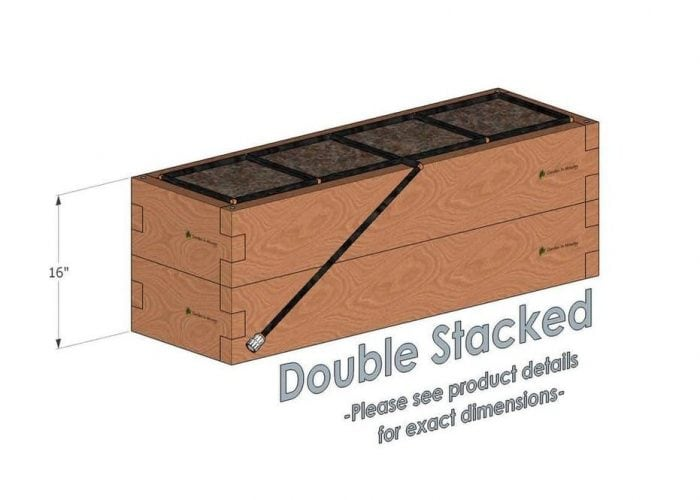 1x4 Cedar Raised Garden Kit Double Stacked