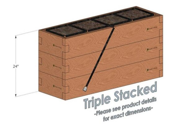 1x4 Cedar Raised Garden Kit Triple Stacked