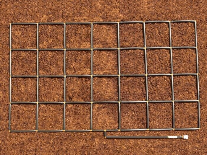 4x7 Garden Grid watering system plant spacing guide and ground level watering system