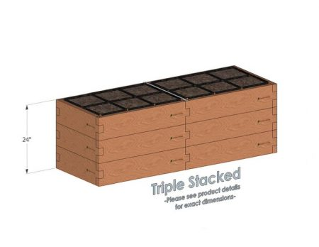 2x6x24 Raised Garden Kit Triple Stacked
